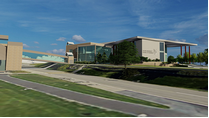 A rendering of a new business school building