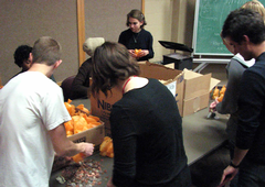 Members of the SJC count donations from World Hunger Week