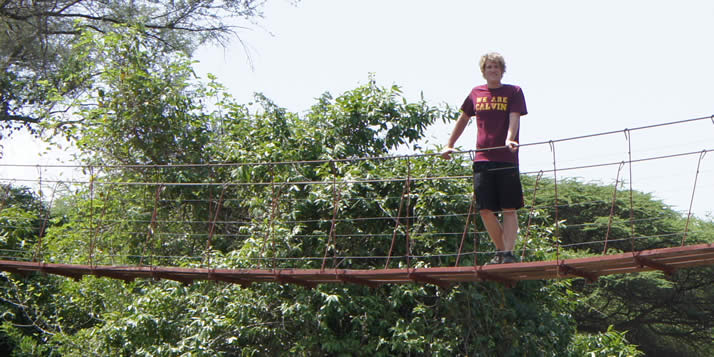Andrew Mitchell is building a suspended bridge in Kenya.