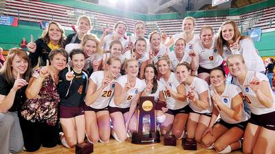 Calvin volleyball team wins national crown for the first time in school history.