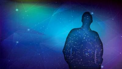 Graphic design of a man's silhouette overlaid with constellations.