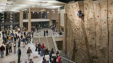 The climbing wall and lobby inside the Spoelhof Fieldhouse Complex.