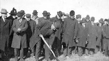 People gathered to witness the 1910 groundbreaking of the Franklin campus.