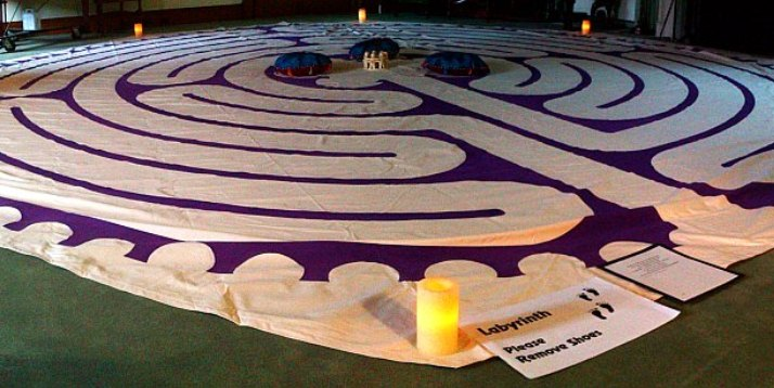 A labyrinth, similar to the one shown above, will be available in Calvin's chapel undercroft from March 25–28.  Courtesy photo: HiMY SYeD / Toronto City of Labyrinths Project