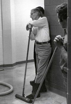 Spoelhof lending a hand after a flood in the Science Building
