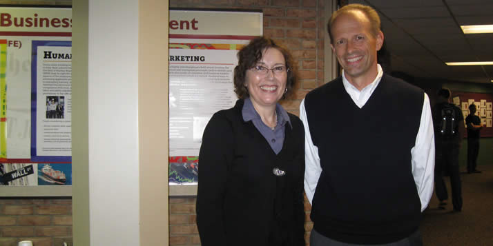 The business department held a reception to honor Margaret Edgell for her work in September, 2010. (She's pictured here with business department chair Leonard Van Drunen.)