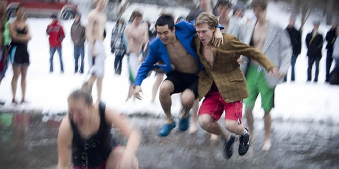 Every year, hundreds of Calvin students line up to plunge into the frozen Sem Pond. Why?