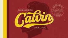 "A red banner with a knight's helmet and the words ""Come Home to Calvin September 27-30."""