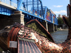View of the Blue Bridge in downtown Grand Rapids