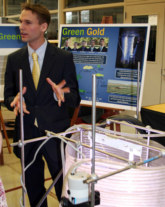 Team Green Gold developed a tubular reactor for converting algae into a biofuel.