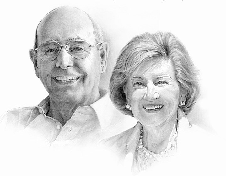 A drawing of a portrait of Rich and Helen DeVos