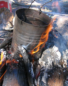 A pot on an open fire
