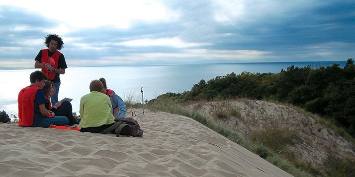 First-year students are learning how to research in the Michigan dunes.