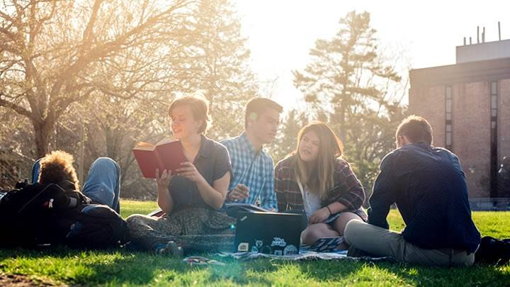 Multiple students sitting on commons lawn, reading and talking together.