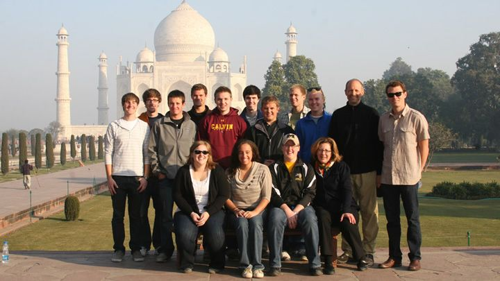 students on interim trip in front of the Taj Mahal