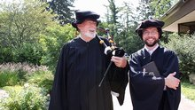 Bagpipe player Roger Billings with Jacob Thielman (a.k.a. Rev. John Knox).
