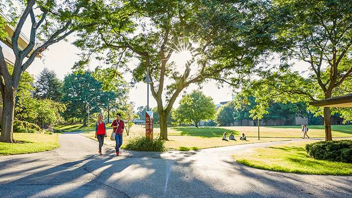 Campus photo showing students walking on a tree-lined path in Grand Rapids, Michigan