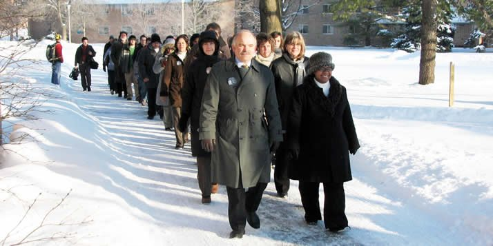 The Calvin community marches to Chapel to commemorate Martin Luther King, Jr.'s historic walk.