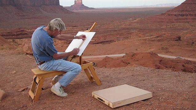 Franklin D. Speyers painting on location.