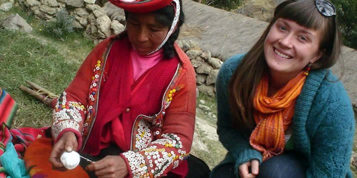 Kaitlyn Bohlin '07 works to preserve the traditional art of Quechua weavers.