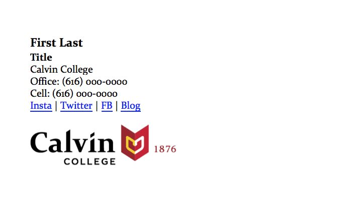 Email Signature Template Tools Resources Calvin College