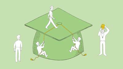 Illustration of a graduation cap with little men all over it: watching, walking, climbing tassels.