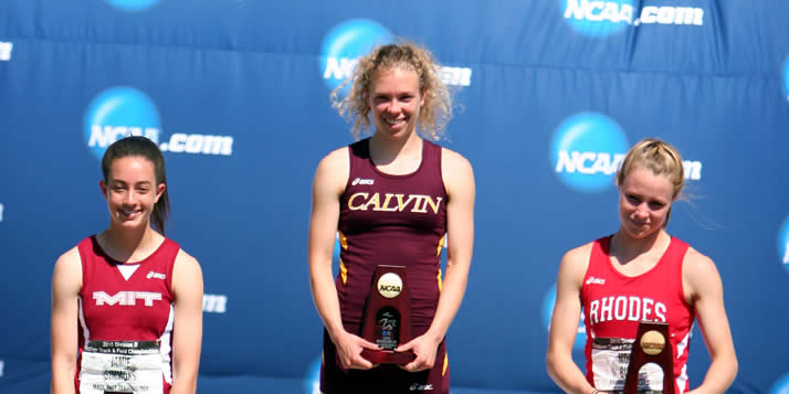 Calvin junior Rachel Boerner never expected to lead the final stretch of the 400-meter dash at this year's NCAA III Indoor Track and Field Championships.