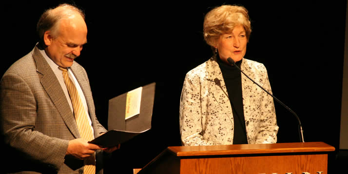 On Wednesday, June 10, director of foundation relations Lois Konyndyk became the eighth staff member in Calvin College history to be honored with the William Spoelhof Lifetime Achievement Award.