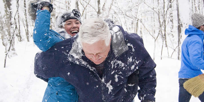 A snowball fight at a recent English department writer's retreat