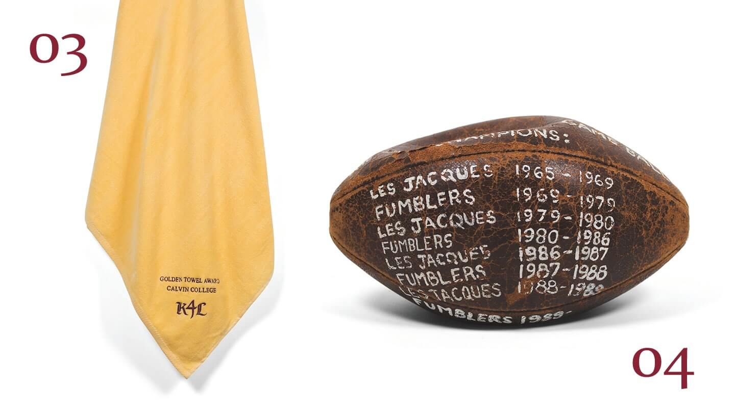 The golden towel and Les Jacques de Chimes football.