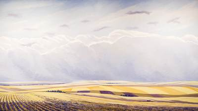 Chris Overvoorde painting of an open field with vast sky.
