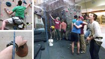 Indoor rock climbing for Family Weekend