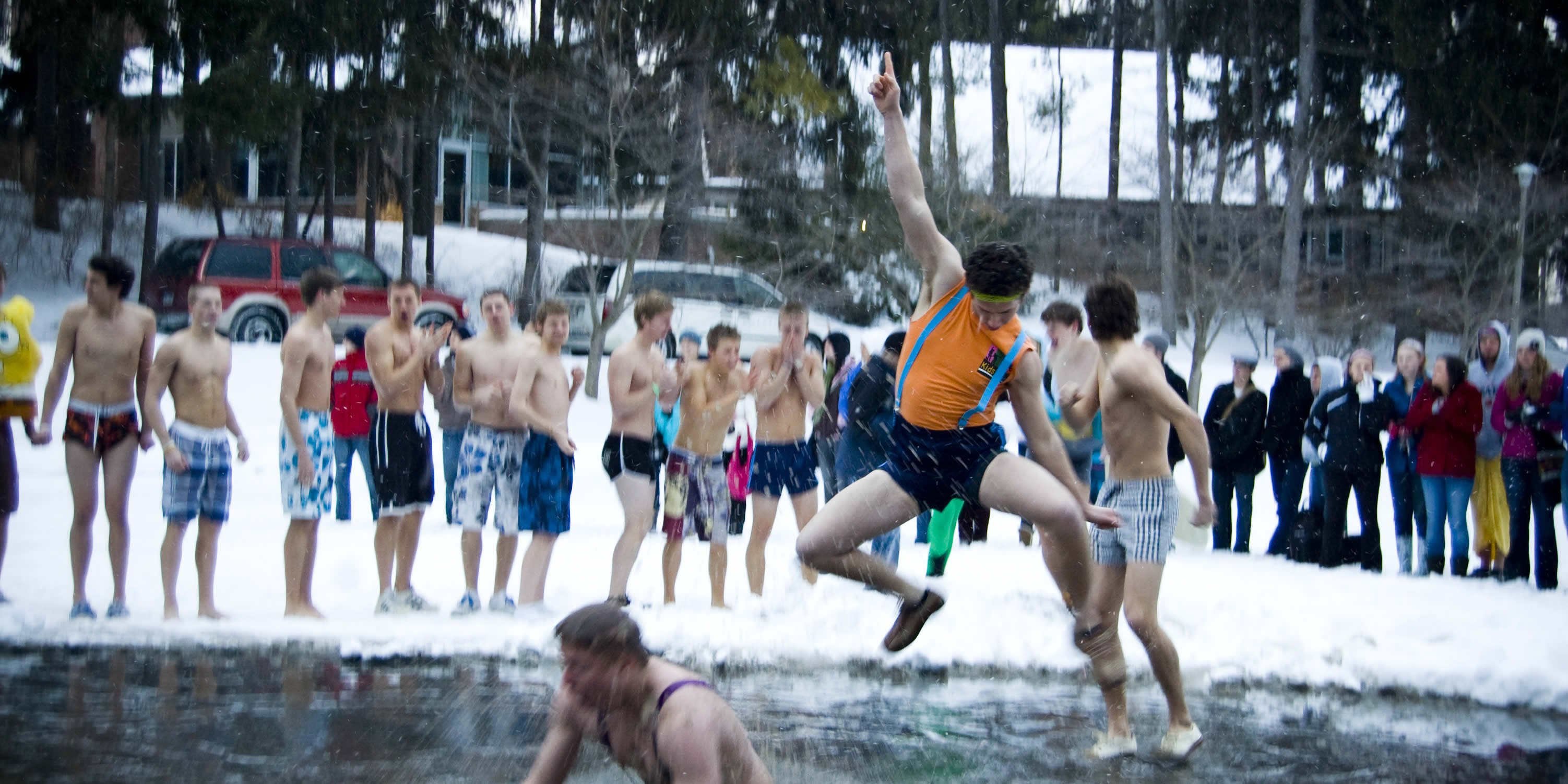400-plus people gathered at the Calvin Seminary late Friday afternoon, Feb. 20 for the annual Sem Pond Jump.