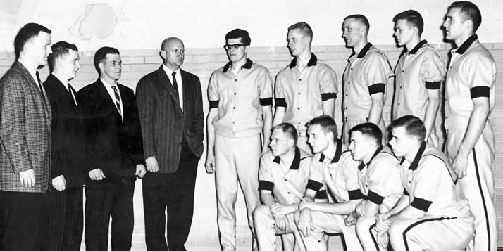 Standing (l-r): Jim Kool, statistician, Jim Achterhof manager, Don Vroon, assistant coach, Barney Steen, head coach, Warren Otte, Henry DeMots, Bill Wolterstorff, Rich Rusthoven, Ralph Honderd. Kneeling: Jim Timmer Sr., Len Rhoda, Carl DeKuiper, Dan Bos.