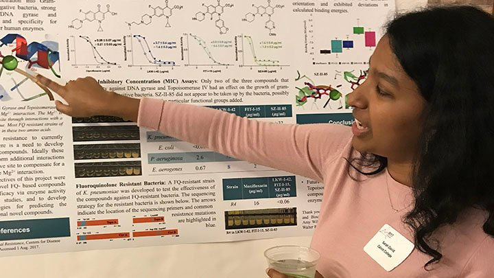 Calvin student Sarah David presenting her research at the Midwest Enzyme Conference