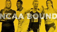 "Four student athletes in a montage with ""NCAA Bound"" written across the image."