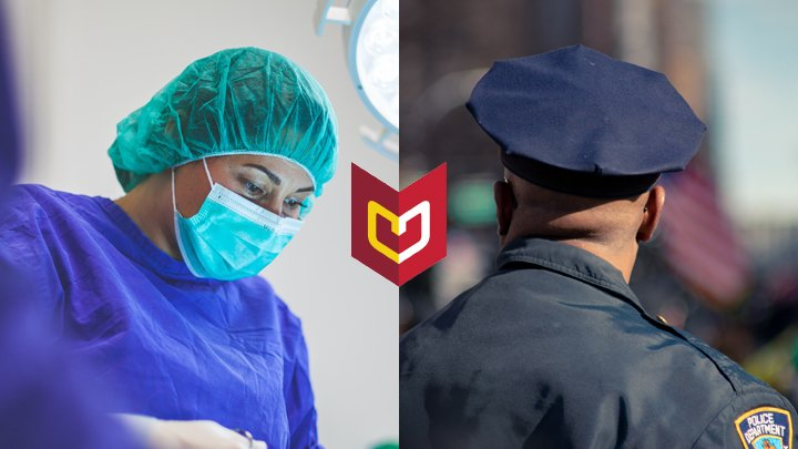 A medical doctor on the left, a police officer on the right, with Calvin University's logo overlayed