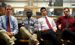 Yoo (third from left) with senior engineering design team