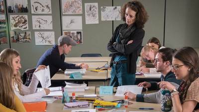 Jo-Ann Van Reeuwyk observes her students in her art education classroom.