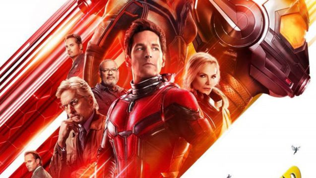 Ant-man stands, victorious, with the Wasp by his side. He is dressed in a red power suit.
