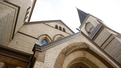 View of a church building from a low angle.