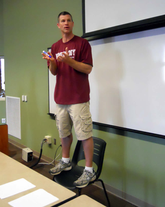 A kinesiology prof makes a demonstration