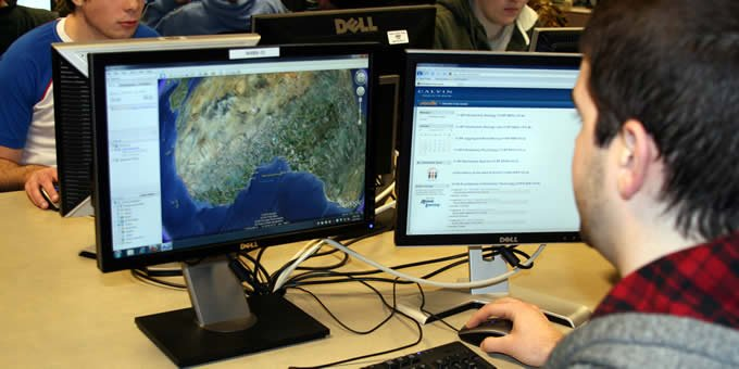 Students create digital maps and analyze terror capabilities.