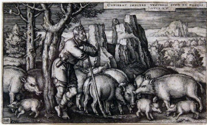 Image: Hans Sebald Beham, Prodigal Son as a Swineherd, 1538.
