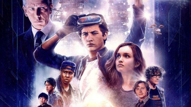 Lead of ready player one raises his hand in triumph. Rest of cast is layered around him (edited).