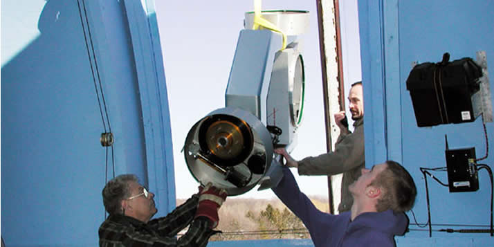 Installing the Calvin telescope.