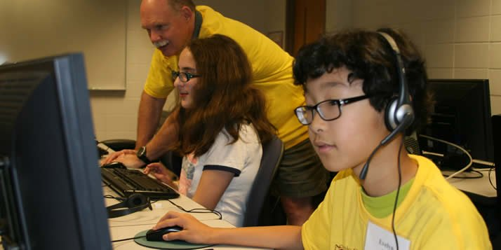 At Calvin's Imaginary Worlds computer camps, local kids are learning the basics of computer programming by making video games.