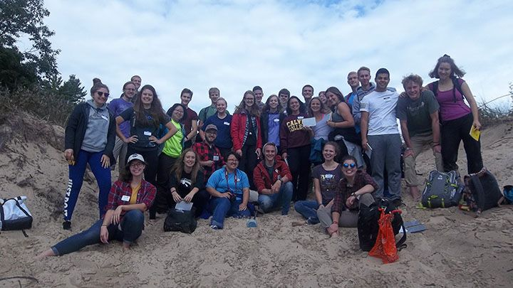 The 2016 FYRES class and research mentors during the first lab on the dunes.