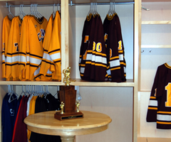 Detail of a player's locker space.