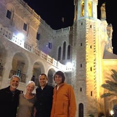 Mike and Loni Van Denend with alumni Keith Blystra and Michael Valk at the Notre Dame Center in Jerusalem